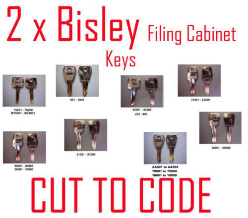 2 x Bisley Replacement Filing Cabinet Keys Cut to Code Keys Professionally Cut