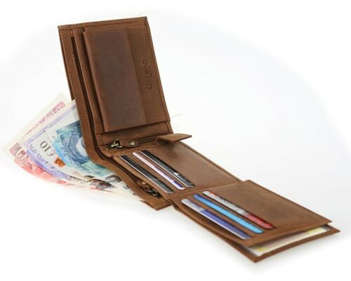 Portafoglio da Uomo in Vera Pelle RFID Blocco monete borsa porta carte di credito portafoglio donna