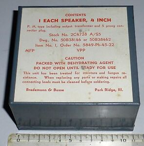 BC728-Haut-Parleur-4-034-de-rechange-US-WWII-NOS-en-boite-conserve-RARE
