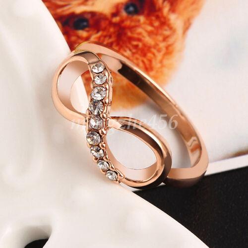 Fashion Crystal Rhinestone Finger Ring Infinity Shape Charms Bowknot Size 6-9