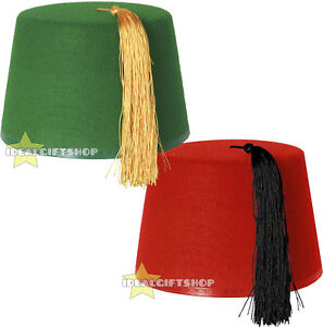 8d7856e8e671f CHOOSE GREEN OR RED FEZ KUKI HAT ADULT MOROCCAN TURKISH TASSEL ...