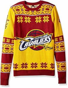 buy online e7def 7ae30 Details about Forever Collectibles NBA Men's Cleveland Cavaliers Big Logo  Ugly Sweater