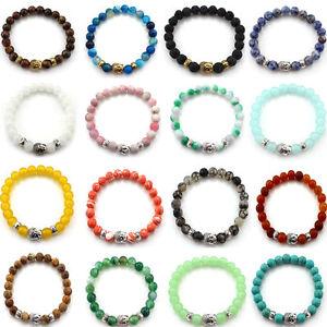Handmade-Men-Womens-Lava-Rock-Bracelet-Gemstone-Natural-Beads-Buddha-Head-Beaded