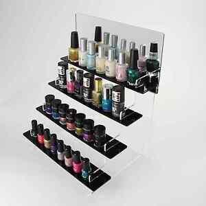 Tiered nail varnish display stand black acrylic 3 sizes 4 image is loading tiered nail varnish display stand black acrylic 3 prinsesfo Images