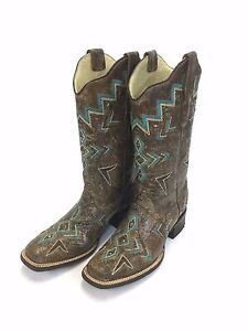 4f76e94097b Details about Women's Corral Square Toe Boot with Aztec Embroidery, Style  E1024