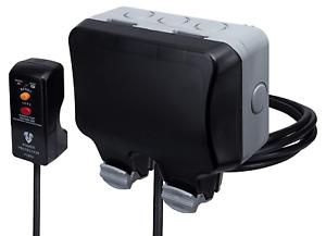 BG électrique Outdoor Weatherproof double Switched Socket Kit Avec Le RCD Plug and