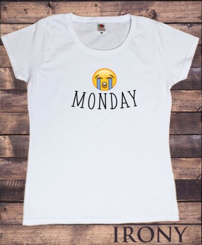 "Women's White T-Shirt /""MONDAY/"" Sad Crying Face Emoji Funny Print TS515"