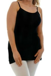 NEW Womens Tank Top X Large Ladies Black Sleeveless Spaghetti Strap Cami TD