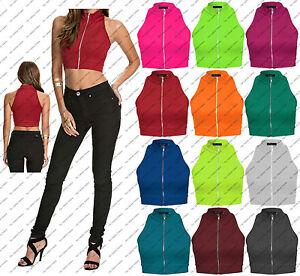 New-Womens-Girls-Polo-Zip-Turtle-Neck-Crop-Top-Vest-Tee-T-Shirt-Size-8-10-12-14