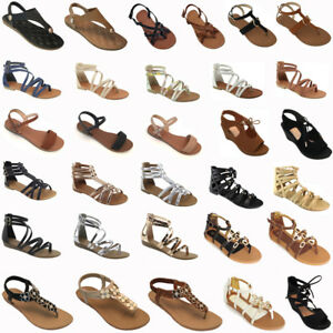 New-Women-Gladiator-Sandals-Shoes-Thong-Flops-T-Strap-Flip-Flat-Size-Strappy-Toe
