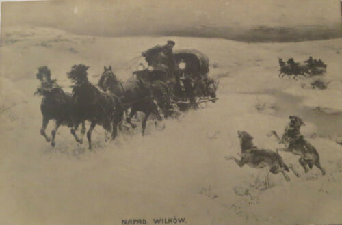 """Napad Wilkow, Wagon, Invasion, Wolf, Wolves"" 1910, Russia 16864"