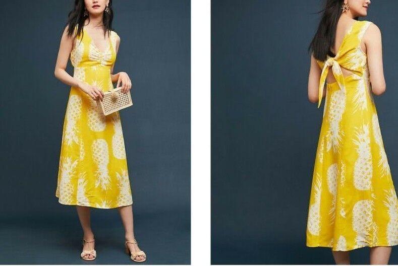 Anthropologie Pineapple Midi Dress by Maeve  Sz 4 - NWT