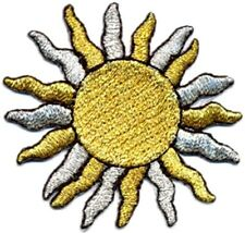 Black Embroidered Iron-On Applique Sun 2 x 2+1//4 inch Gold Silver