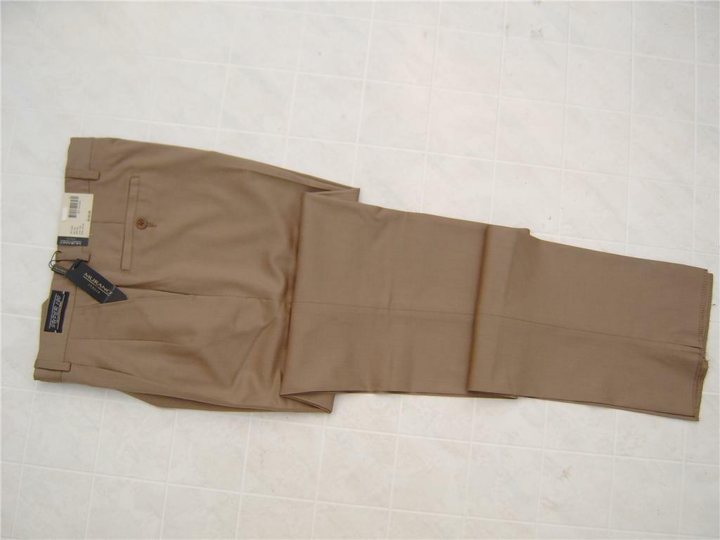 Murano Men's 100% Wool Pants Trousers SUPER 120'S Pleat 32R 32 Made in  Tan