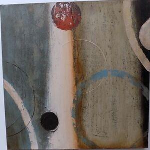 Quadro a olio realizzato a mano molto materico cm 60x60 industrial style dipinto