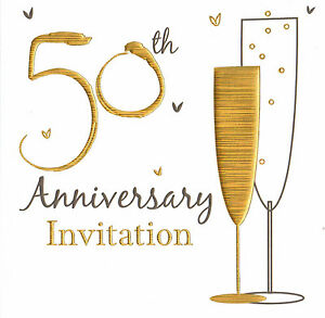 Details About 60 X Golden Wedding Anniversary Invitation Cards 50th Party Invites 50 Years