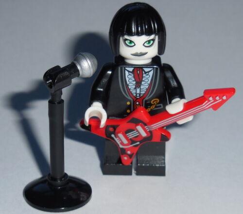 MUSICIAN Lego Female Goth Punk Rocker w//Microphone /& Guitar Genuine Lego parts