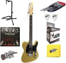 Effin Guitars Smelly/YW Tele Yellow Electric Guitar w/Effin Strings + More