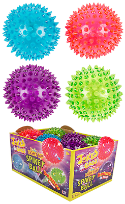 Indoor fun bouncing spiky squeezy  ball with Flashing Light Up with finger loop.