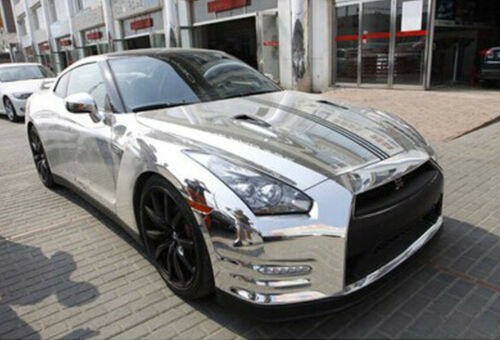 Glossy Car Wrap Film Silver Waterproof Stretchable Chrome Vinyl Film Air Release