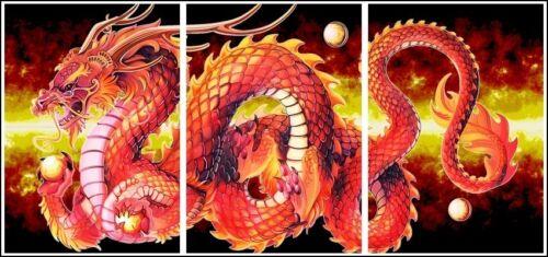 Red Dragon Espectacular Fuego llamas 3 Panel Grande Tríptico Pared impresión de arte cartel