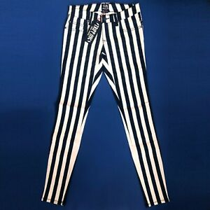 Tripp-NYC-Gothic-Punk-80-90s-Black-White-Striped-Skinny-Jeans-Pants-Size-11-30