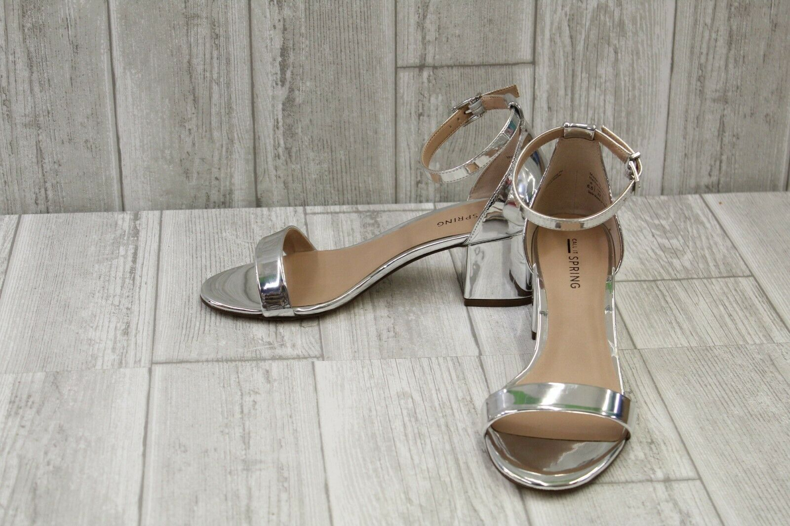 Call It Spring Elerranna Metallic Ankle Strap Sandals, Women's Size 6.5B, Silver