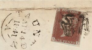 1840-Penny-Red-on-Wrapper-Spec-AS74-Plate-11-SF-034-Taunton-034-Maltese-Cross-FUesd