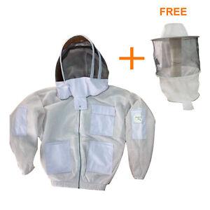 3 layer beekeeping ultra ventilated jacket brass zipper round hat veil L