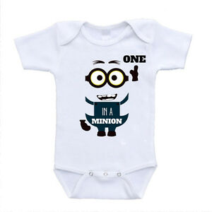 New One In A Minion Cute Funny Baby Bodysuits Unisex One Piece Rompers