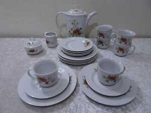 21-tlg-DDR-Ilmenau-Porzellan-Design-Kaffeeservice-Vintage-um-1970-80-Erdbeeren