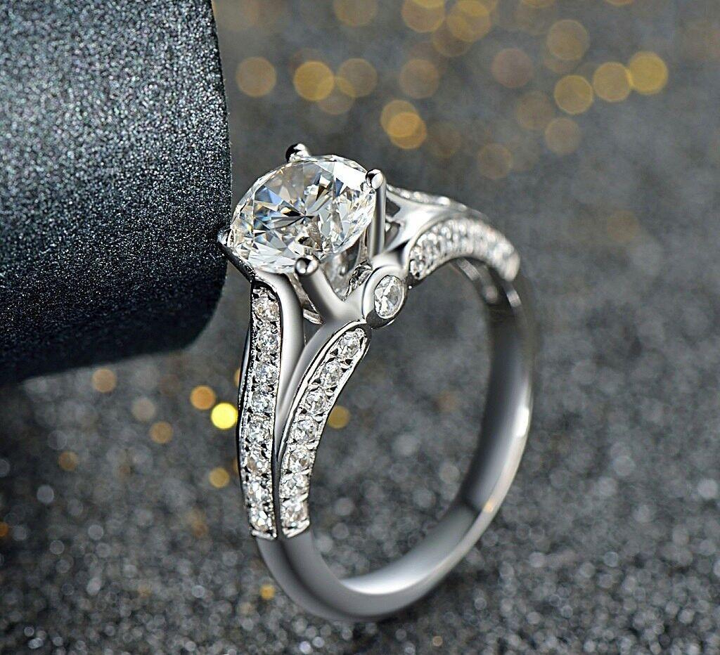 958316a494da4 Gift gold White 14k Ring Engagement Diamond Round White Hallo 2.71Ct ...