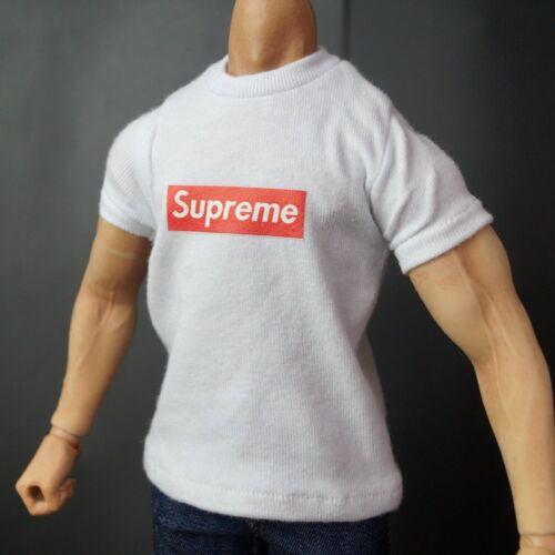 White Spuer Me T shirt Top For 1/6 Scale male12 Action Figure 1:6 HT 3A Toy