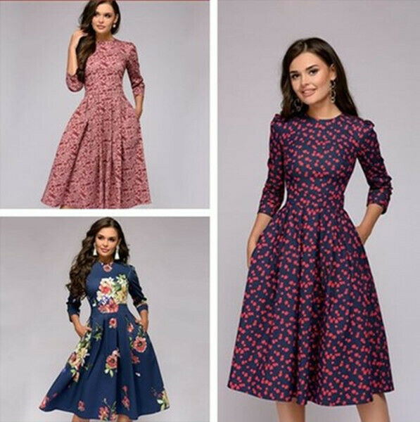Party Cocktail Retro Winter A-line Dress Women's Floral Print Midi Dress