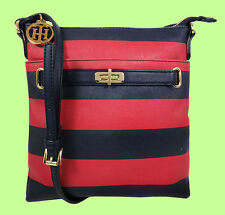 TOMMY HILFIGER Helen Navy/Red PVC Stripes/Leather NS X-Body Bag Msrp $78.00