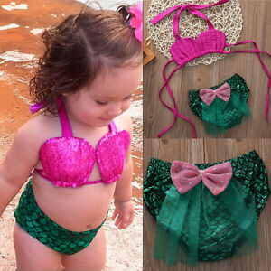 625d3e6969 0-4T Kids Baby Girl Swimwear Mermaid Toddler Swimsuit Bikini Suits ...