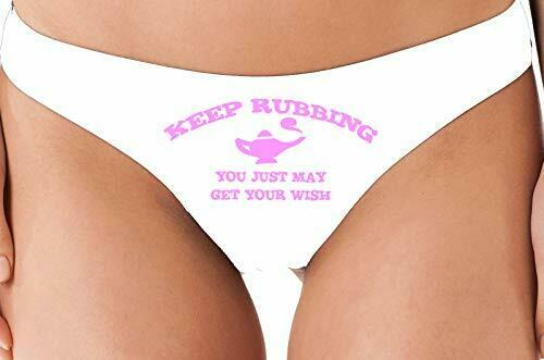 Knaughty Knickers Keep Rubbing You May Get What You Want Genie Funny White Thong