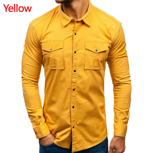 Men Fashion Long Sleeve Slim Fit Army Cargo Work Military Cotton Casual Shirt