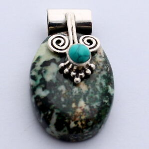 Agate-with-Turquoise-Pendant-Precious-Stone-Jewellery-in-925-Silver-Pretty-New