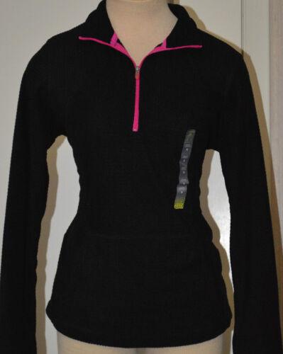 Ladies Tek Gear Black Half Zip Athletic Pullover Mock Neck Top Sizes XS S