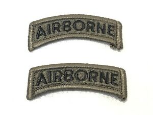 LOT-of-2-US-MILITARY-ARMY-AIRBORNE-TAB-PATCH-DUTY-UNIFORM-INSIGNIA-BDU-OD-GREEN