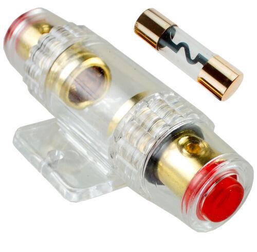 AGU Fuse Holder Fuseholder Car Audio 4 6 8 Gauge Inline Gold Plated 100 Amp