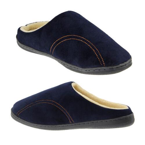 UK size 7.5 Navy Blue Mens Memory Foam Mule Slippers Fleece Lined Slip On Clogs
