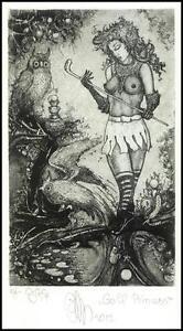 Agirba Ruslan 2012 Exlibris C3 Golf Princess Erotic Nude Owl Eule Bird Woman 329 -  Dabrowa, Polska - Agirba Ruslan 2012 Exlibris C3 Golf Princess Erotic Nude Owl Eule Bird Woman 329 -  Dabrowa, Polska