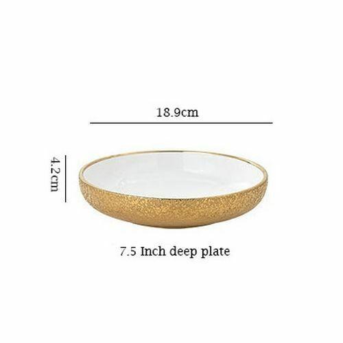 Ceramic Gold Plate Bowl Snack Dessert Dinner Tableware Creative Porcelain Dishes