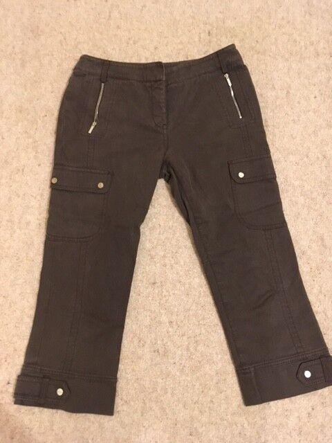 KAREN MILLEN braun Capri Pants Trousers Größe 1(8)       Konzentrieren Sie sich auf das Babyleben  3008f2