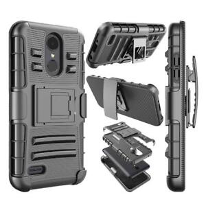 Belt-Clip-Holster-Cover-Hybrid-Case-for-LG-K8-2018-w-Tempered-Glass-Screen-Film