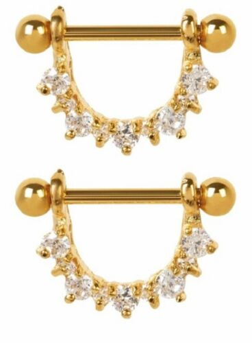 24k Gold with Clear Cz Half Circle Nipple Shields Plated Over Surgical Steel