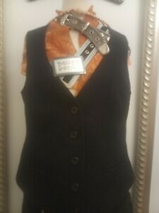 Laura-Ashley-black-wool-Waistcoat-Size-14-Ditsy-Vintage
