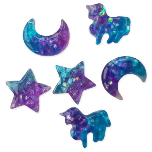 6pcs Mini Unicorn Star and Moon Resin Flatback Cabochon Embellishmens Craft Set